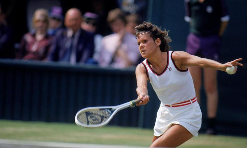 Evonne Goolagong-Cawley in action at Wimbledon in 1981.