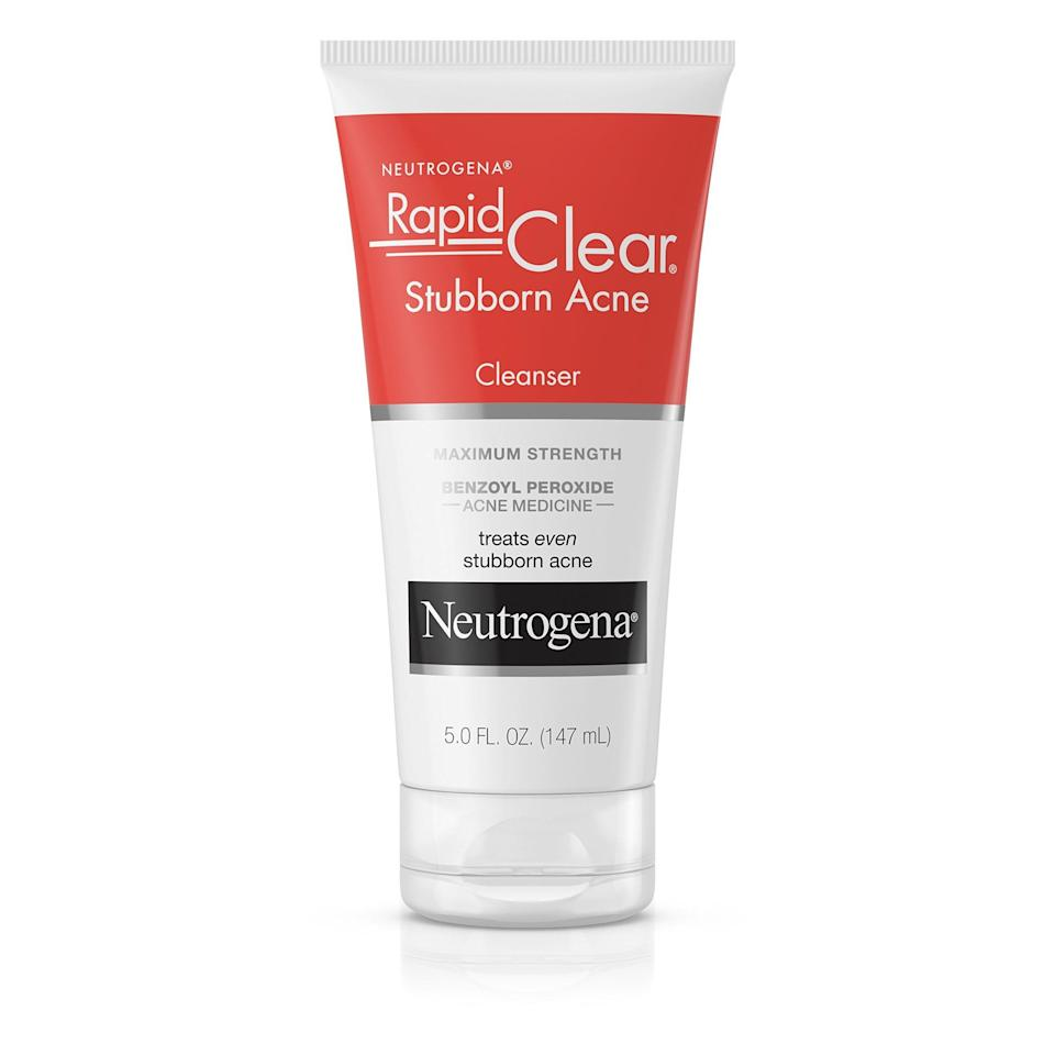 """<p>""""I always recommend the <span>Neutrogena Rapid Clear Stubborn Acne Daily Leave-On Mask</span> ($12) because it can be used as a mask and as a spot treatment. It has a sufficient amount of benzoyl peroxide without causing further irritation like some products that can have a higher percentage of benzoyl peroxide."""" - dermatologist <a href=""""http://skinandcancercenterofarizona.com/providers_pearl.htm"""" class=""""link rapid-noclick-resp"""" rel=""""nofollow noopener"""" target=""""_blank"""" data-ylk=""""slk:Henna Pearl"""">Henna Pearl</a>, MD</p> <p>""""A great benzoyl peroxide option is the Neutrogena Rapid Clear leave on mask, which can be washed off after 10 minutes. If you can not tolerate BP due to irritation, try 2 percent calicylic acid washes (such as Neutrogena's acne wash)."""" - Dr. Haygood</p>"""