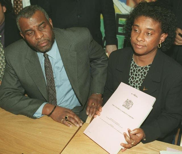 Doreen and Neville Lawrence, the parents of murdered black teenager Stephen Lawrence