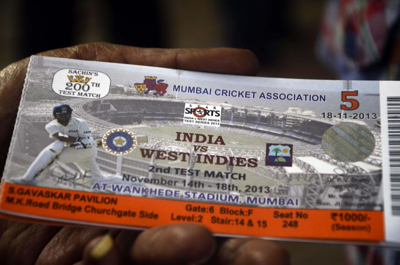 A ticket of 2nd Test Match between India and West Indies with Sachin Tendulkar's photograph on it on Nov.13, 2013. This will be the 200th and the last Test Match of Sachin Tendulkar.(Photo: Sandeep Mahankal/IANS)