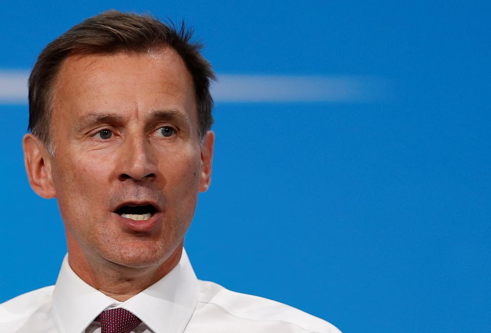 Jeremy Hunt, a leadership candidate for Britain's Conservative Party, speaks during a hustings event in London, Britain July 17, 2019. REUTERS/Peter Nicholls