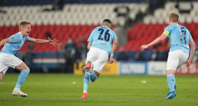Riyad Mahrez (centre) scored the winner as City came from behind in Paris
