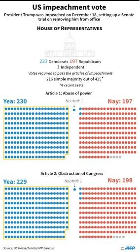 The US impeachment vote in the House of Representatives and the Senate
