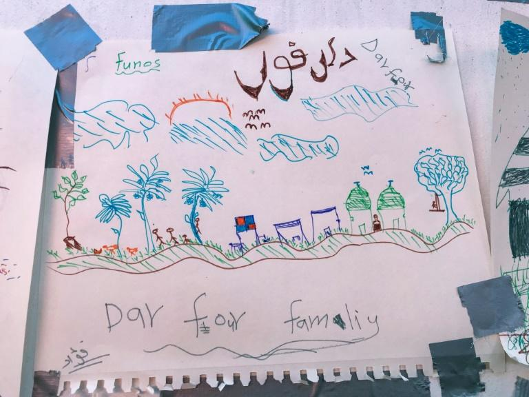 The migrants were invited to draw their nightmares and best memories