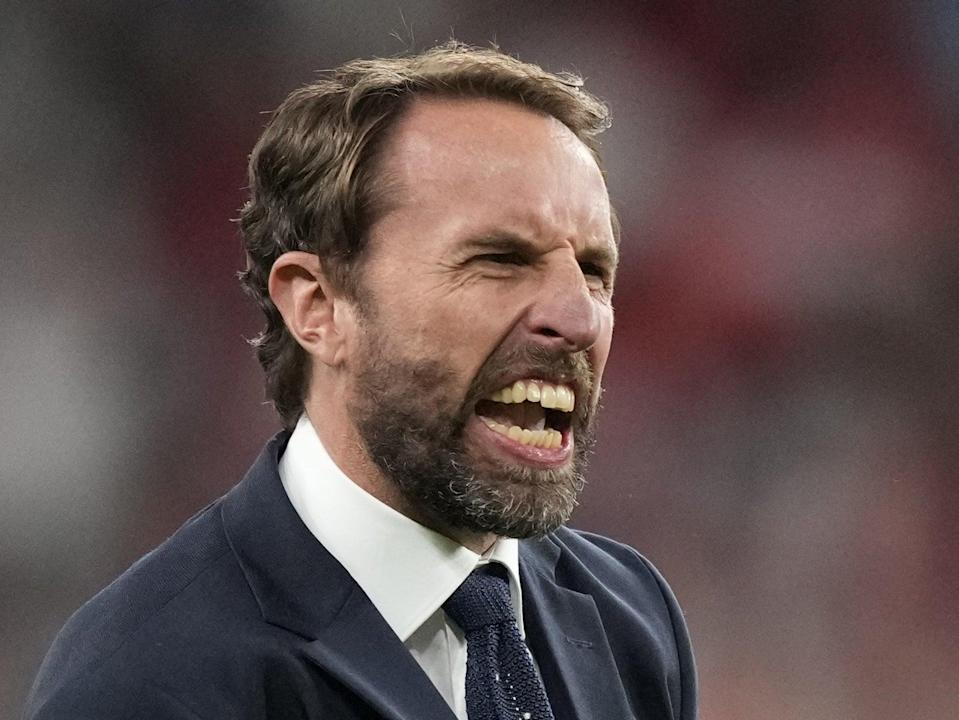 England manager Gareth Southgate celebrating his team's semi-final win over Denmark (POOL/AFP via Getty Images)