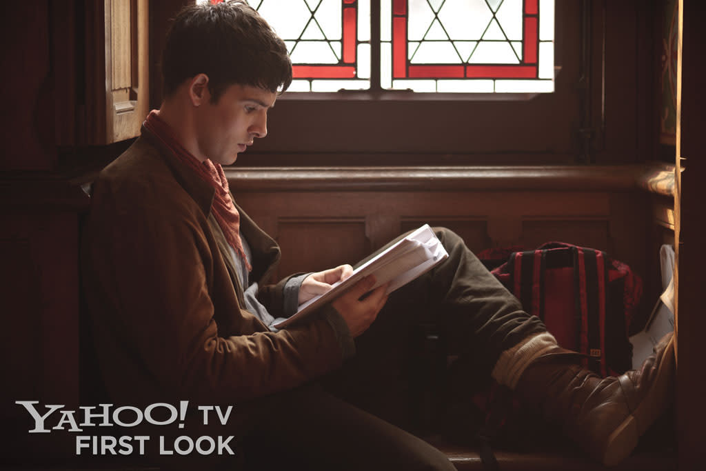 In a quiet corner of Chateau Pierrefonds, Colin Morgan prepares to shoot a scene for Merlin's fifth season.
