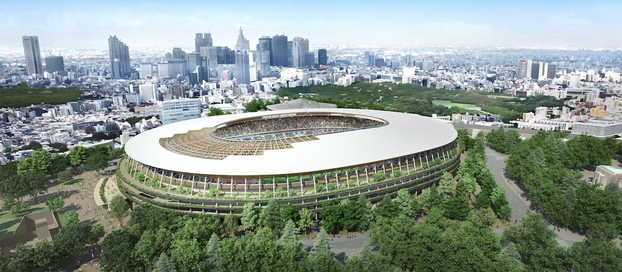 """Proposed new national stadium """"Design A"""" is seen in this undated handout picture released by Japan Sports Council and obtained by Reuters"""