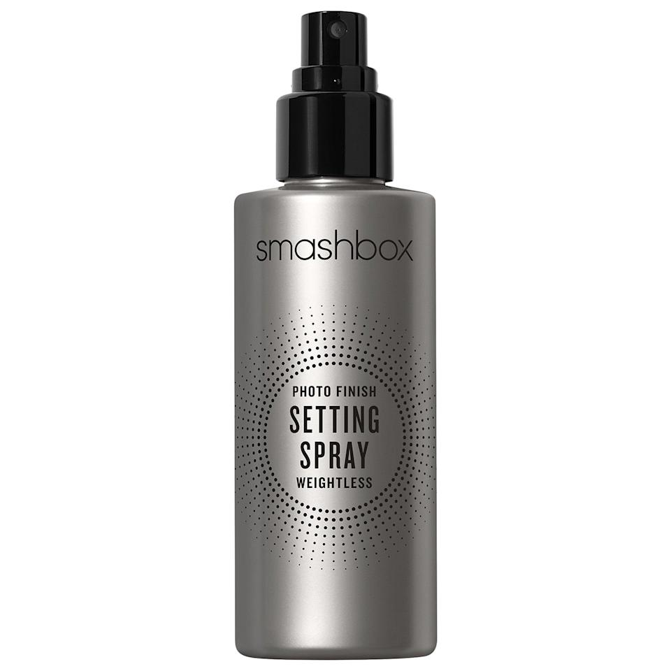 "<p>This top-rated <a href=""https://www.popsugar.com/buy/Smashbox-Photo-Finish-Setting-Spray-Weightless-587069?p_name=Smashbox%20Photo%20Finish%20Setting%20Spray%20Weightless&retailer=sephora.com&pid=587069&price=32&evar1=bella%3Aus&evar9=47597630&evar98=https%3A%2F%2Fwww.popsugar.com%2Ffashion%2Fphoto-gallery%2F47597630%2Fimage%2F47597640%2FSmashbox-Photo-Finish-Setting-Spray-Weightless&list1=makeup%2Csephora%2Cbeauty%20shopping&prop13=api&pdata=1"" class=""link rapid-noclick-resp"" rel=""nofollow noopener"" target=""_blank"" data-ylk=""slk:Smashbox Photo Finish Setting Spray Weightless"">Smashbox Photo Finish Setting Spray Weightless</a> ($32) helps make foundation and other face makeup transfer-proof (for up to 16 hours) without leaving your skin sticky.</p>"