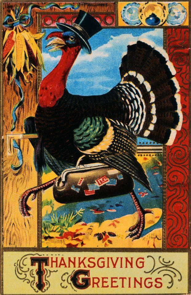 "ca. 1911 — ""Turkey in Top Hat with Valise"" Thanksgiving Postcard — Image by © Cynthia Hart Designer/Corbis"