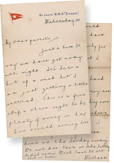 This photo provided by RR Auction of Amherst, N.H., shows a letter written by Wallace Hartley, the Titanic's heroic bandleader, who with his band played as the Titanic sunk. The letter is one of many items to be sold in an online auction. RRAuction of New Hampshire will close bidding on the letter and other memorabilia ON April 26.  (AP Photo/RR Auction)