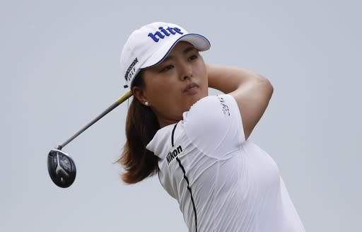 Jin Young Ko of South Korea watches her drive on the 12th tee during the final round of the Dow Great Lakes Bay Invitational golf tournament, Saturday, July 20, 2019, in Midland, Mich. (AP Photo/Carlos Osorio)