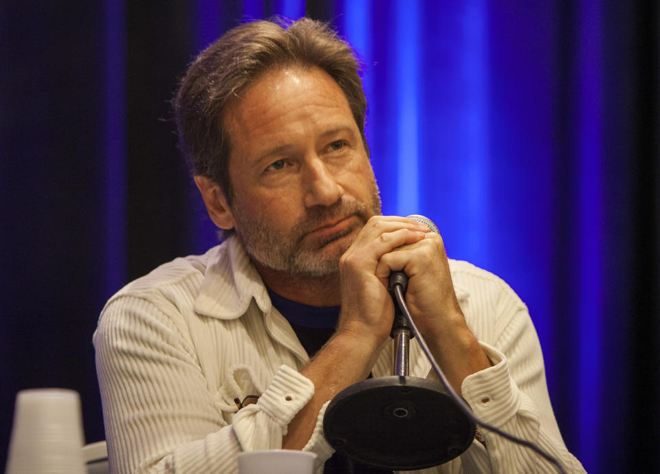 David Duchovny during Wizard World Chicago Comic-Con at the Donald E. Stephens Convention Center on Sunday, Aug. 21, 2016, in Chicago. (Photo by Barry Brecheisen/Invision/AP)