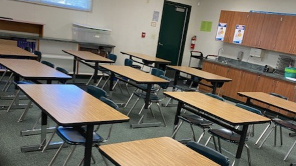 A history teacher at Rancho Minerva Middle School in Vista, Calif., told news station KXAN she is concerned about lack of social distancing in her classroom. (KXAN)