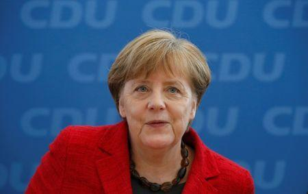 German Chancellor and leader of the Christian Democratic Union (CDU) Angela Merkel, attends a party board meeting in Berlin, Germany March 14, 2016, the day after election in three states - the industrial state of Baden-Wuerttemberg, the wine-growing region of Rhineland-Palatinate and the eastern state of Saxony-Anhalt. REUTERS/Fabrizio Bensch