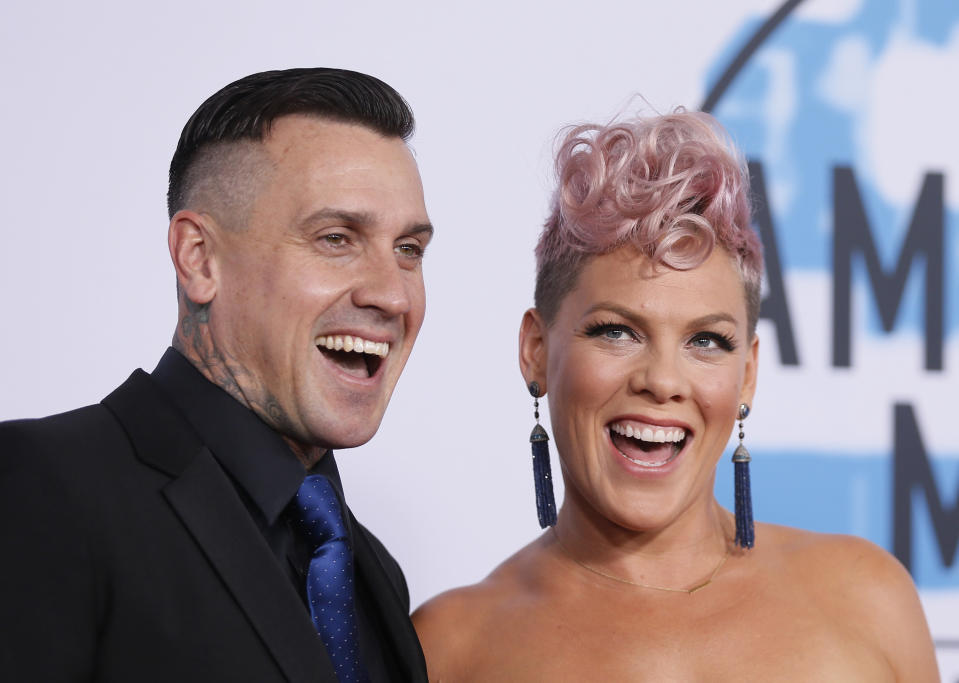 Carey Hart (pictured with Pink in 2017) fired back at critics who objected to her T-shirt supporting Joe Biden and Kamala Harris. (Photo: REUTERS/Danny Moloshok)