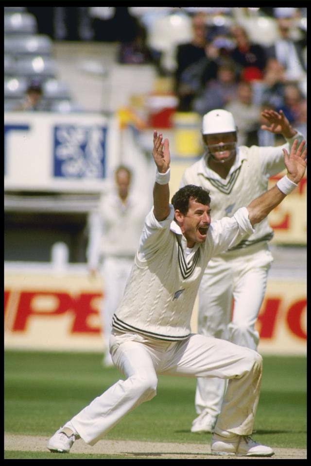 Jul 1990: Sir Richard Hadlee of New Zealand appeals for a wicket in his last test match for New Zealand against England at Edgbaston.                                                                         Mandatory Credit: Ben Radford/Allsport UK