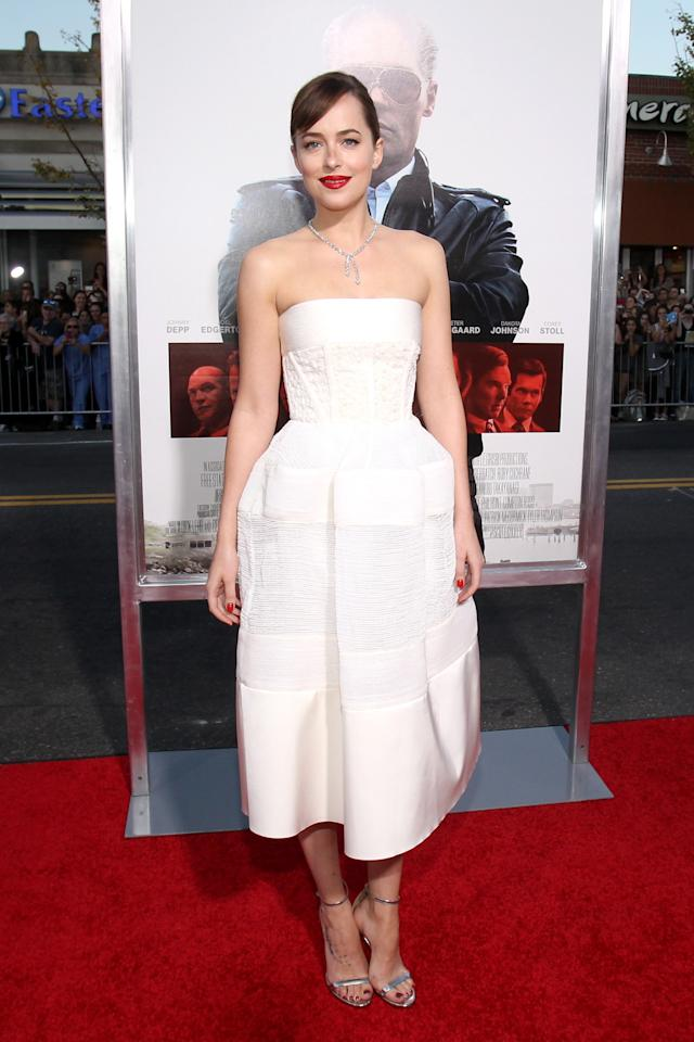 <p>The fashion-conscious actress attended the Boston premiere of her new film, Black Mass, in an elegant white dress from the label's Resort 2016 collection.<br /><br /></p>