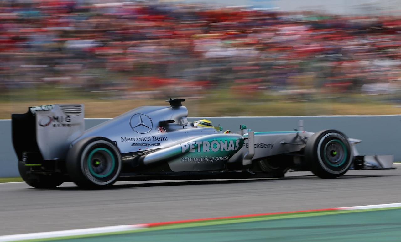 MONTMELO, SPAIN - MAY 11:  Nico Rosberg of Germany and Mercedes GP drives on his way to finishing first during qualifying for the Spanish Formula One Grand Prix at the Circuit de Catalunya on May 11, 2013 in Montmelo, Spain.  (Photo by Julian Finney/Getty Images)