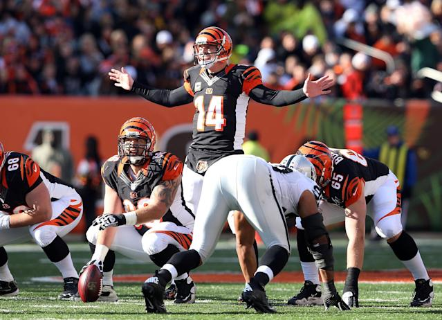 CINCINNATI, OH - NOVEMBER 25: Andy Dalton #14 of the Cincinnati Bengals gives instructions to his team during the NFL game against the Oakland Raiders at Paul Brown Stadium on November 25, 2012 in Cincinnati, Ohio. (Photo by Andy Lyons/Getty Images)