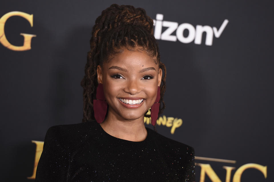 """Halle Bailey arrives at the world premiere of """"The Lion King"""" on Tuesday, July 9, 2019, at the Dolby Theatre in Los Angeles. (Photo by Jordan Strauss/Invision/AP)"""