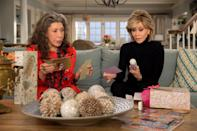 """<p>When two women of a certain age discover that their husbands have been having an affair with each other for years, they do the only thing that makes sense - they move in together and start their second acts. There's just one catch: Grace (Jane Fonda) and Frankie (Lily Tomlin) aren't exactly best friends. In fact, they've only tolerated each other all of these years for their husbands' sakes. Still, the unlikely pair end up forming a bond that allows them to explore dating, entrepreneurship, and the power of women friendships in the most stunning beach house you've ever seen. </p> <p>Watch <a href=""""https://www.netflix.com/title/80017537"""" class=""""link rapid-noclick-resp"""" rel=""""nofollow noopener"""" target=""""_blank"""" data-ylk=""""slk:Grace and Frankie""""><strong>Grace and Frankie</strong></a> on Netflix now.</p>"""