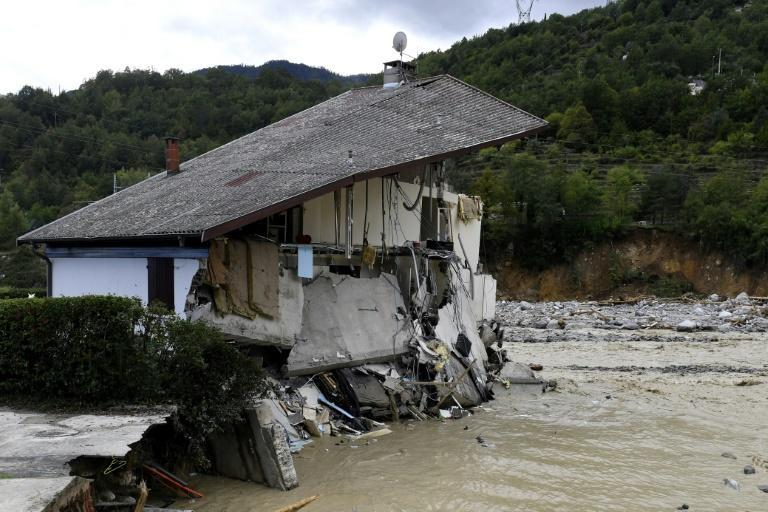 A house destroyed by floodwaters in Roquebilliere, southeastern France
