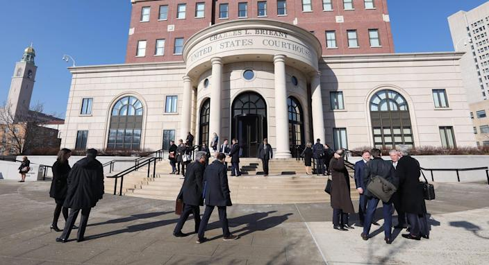 Lawyers, witnesses and others leave the U.S. District Court for the Southern District of New York after the Sears bankruptcy hearing finished for the day, Feb. 4, 2019.