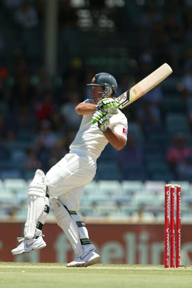 Ricky Ponting of Australia hits a boundary during day four of the Third Test Match between Australia and South Africa at WACA on December 3, 2012 in Perth, Australia.  (Photo by Paul Kane/Getty Images)
