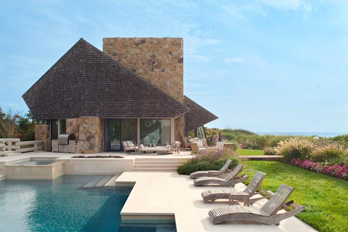 "<div class=""caption""> Like the rest of the house, the shape of the pool is anything but standard. Architect Norman Jaffe, who lived in the '70s and '80s in Bridgehampton, achieved fame through a series of sculptural beachfront residences. </div>"