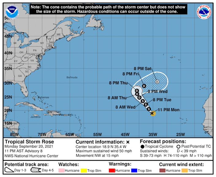 Tropical Storm Rose is expected to weaken back into a tropical depression later this week in the open waters of the eastern Atlantic.
