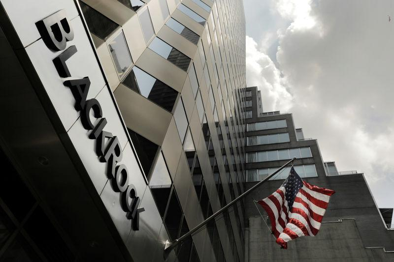 FILE PHOTO: A sign for BlackRock Inc hangs above their building in New York