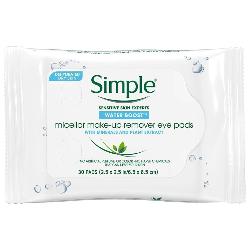 "<p>If you prefer wipes, the <a href=""https://www.popsugar.com/buy/Simple-Water-Boost-Micellar-Eye-Makeup-Remover-Pads-498042?p_name=Simple%20Water%20Boost%20Micellar%20Eye%20Makeup%20Remover%20Pads&retailer=walmart.com&pid=498042&price=5&evar1=bella%3Aus&evar9=46715934&evar98=https%3A%2F%2Fwww.popsugar.com%2Fphoto-gallery%2F46715934%2Fimage%2F46716146%2FSimple-Water-Boost-Micellar-Eye-Makeup-Remover-Pads&list1=beauty%20products%2Cmakeup%20remover%2Cskin%20care&prop13=api&pdata=1"" rel=""nofollow"" data-shoppable-link=""1"" target=""_blank"" class=""ga-track"" data-ga-category=""Related"" data-ga-label=""https://www.walmart.com/ip/Simple-Water-Boost-Micellar-Make-up-Remover-Eye-Pads-30-ct/314073727"" data-ga-action=""In-Line Links"">Simple Water Boost Micellar Eye Makeup Remover Pads</a> ($5) will get rid of even the hardest to remove of eye makeup without leaving behind an oily residue.</p>"