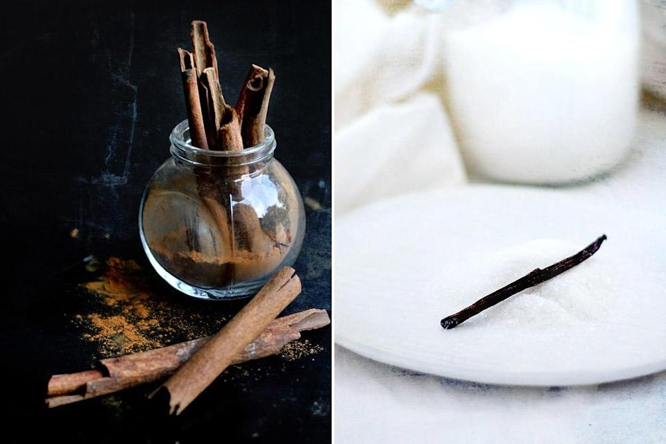 Cinnamon sticks (left) add a lovely spice note while vanilla sugar (right) makes it fancy.