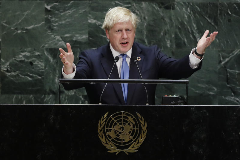 British Prime Minister Boris Johnson addresses the 74th session of the United Nations General Assembly, Tuesday, Sept. 24, 2019, at U.N. headquarters. (AP Photo/Frank Franklin II)