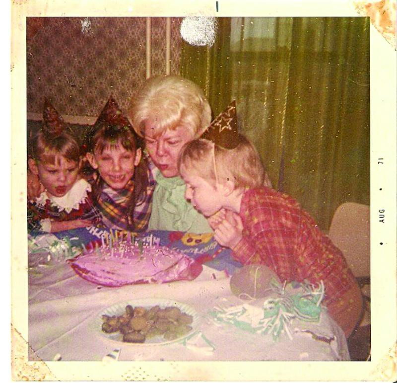 Michael Broussard at age 6 in 1971 and his sisters Mary, left, and Ruthie, and his grandmother.