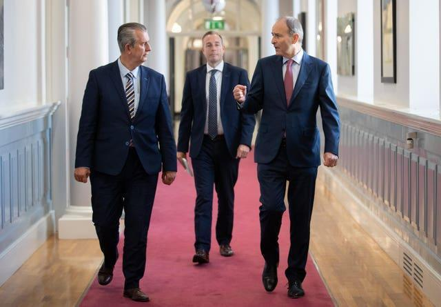 Taoiseach Micheal Martin (right) meeting with DUP Leader Edwin Poots (left) and DUP MLA Paul Given at Government Buildings, Dublin