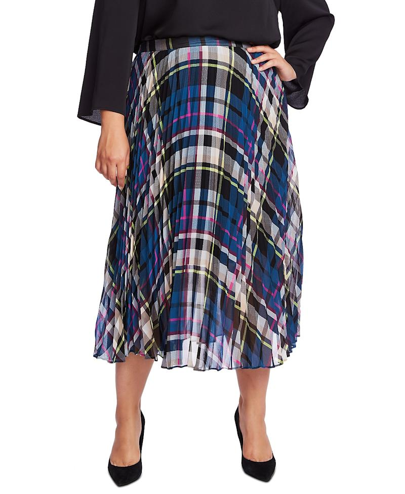 Vince Camuto Plus Size Plaid Pleated Midi Skirt. (Photo: Macy's)