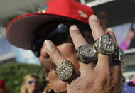 San Francisco 49ers fan John Tonga poses for a photo before the NFL Super Bowl 54 football game between the San Francisco 49ers and Kansas City Chiefs Sunday, Feb. 2, 2020, in Miami Gardens, Fla. (AP Photo/Lynne Sladky)
