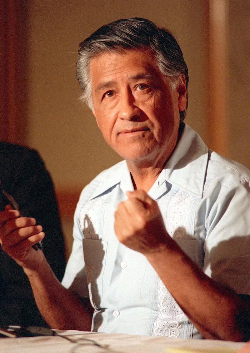 FILE - In this March 8, 1989 file photo, Cesar Chavez gestures as he speaks during a news conference in Los Angeles. Today, the foothills of the Tehachapi mountains continue to house the United Farm Workers of America headquarters and memorials to Chavez, though farmworkers no longer live there. President Obama is designating parts of the property as a national monument and visiting the site on Monday, a move seen as likely to shore up support from Hispanic and progressive voters just five weeks before the election.  (AP Photo/Alan Greth, File)