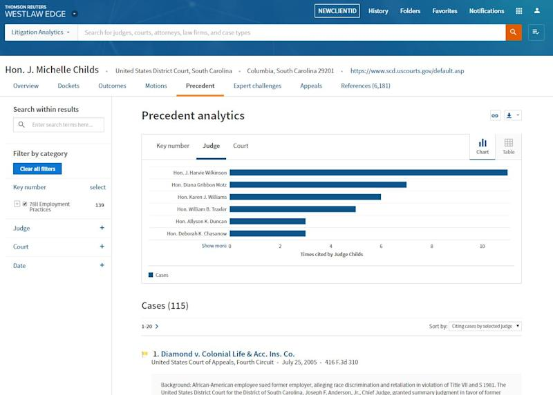 Thomson Reuters to Offer Judicial Analytics with Westlaw Edge Update