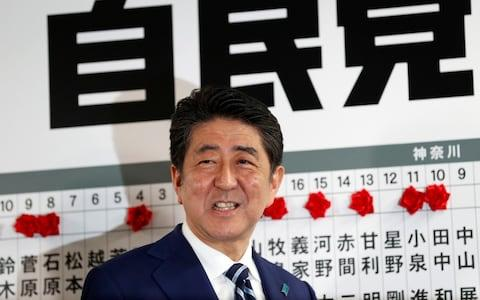 Japan's Prime Minister Shinzo Abe, leader of the Liberal Democratic Party (LDP), was heading for election victory - Credit: Reuters