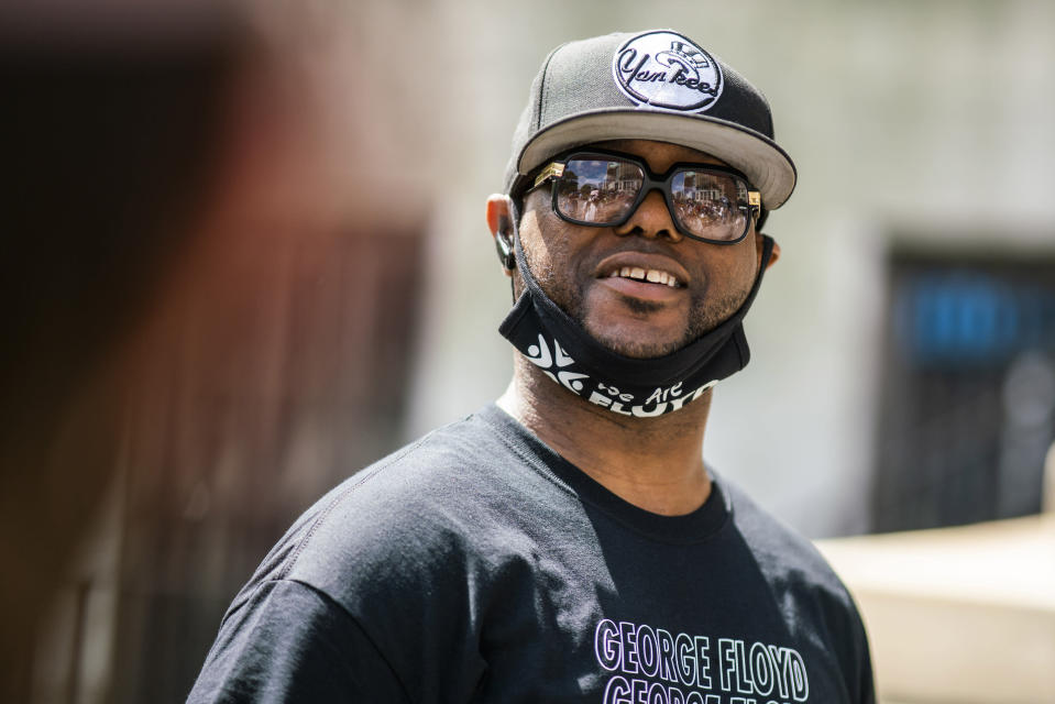 Terrence Floyd, brother of George Floyd, attends a rally on Sunday, May 23, 2021, in Brooklyn borough of New York. George Floyd, whose May 25, 2020 death in Minneapolis was captured on video, plead for air as he was pinned under the knee of former officer Derek Chauvin, who was convicted of murder and manslaughter in April 2021. (AP Photo/Eduardo Munoz Alvarez)