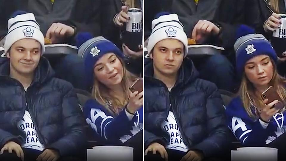The fake smiling Toronto Maple Leafs fan's reaction lit up social media.