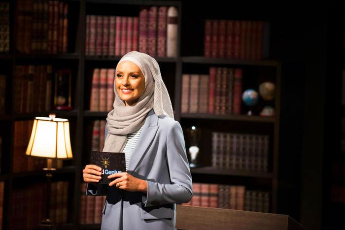 A photo of Dr Susan Carland on set of Child Genius on SBS.
