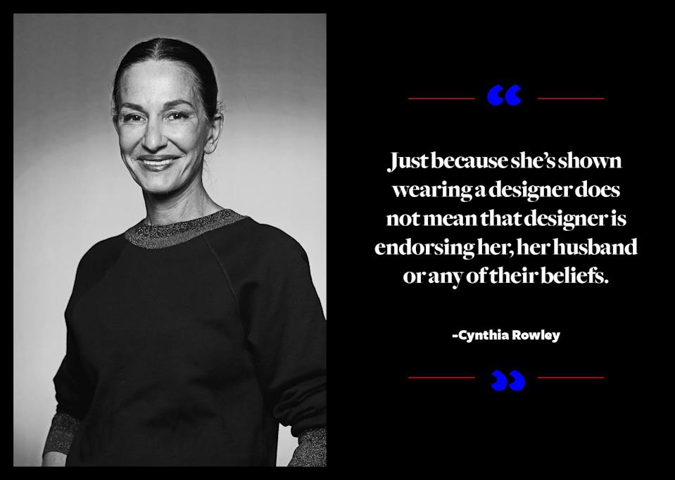 """<p>""""In the midst of this heated debate, the question actually seems somewhat irrelevant. She can simply purchase whatever she wants, so how can we control it? Just because she's shown wearing a designer does not mean that designer is endorsing her, her husband, or any of their beliefs,"""" <a href=""""http://wwd.com/fashion-news/fashion-features/designers-talk-about-dressing-melania-trump-10714101/"""" rel=""""nofollow noopener"""" target=""""_blank"""" data-ylk=""""slk:the designer told WWD"""" class=""""link rapid-noclick-resp"""">the designer told <em>WWD</em></a>. """"Checking someone's ethical beliefs before they're allowed to purchase sets up an exclusionary dynamic that feeds into the exact mentality that is preventing us from moving forward in a positive direction. Some people say fashion and politics should never mix, but when given the choice, I think you should address and dress your conscience."""" </p>"""