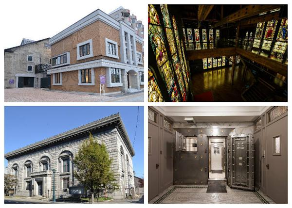 Top left: Back building: Stained Glass Museum; Front: Otaru Art Village Museum Shop Top right: Inside the Stained Glass Museum Bottom left: The Renaissance exterior of the Former Mitsui Bank Otaru Branch Bottom right: The safe room remains in almost exact condition as time of construction