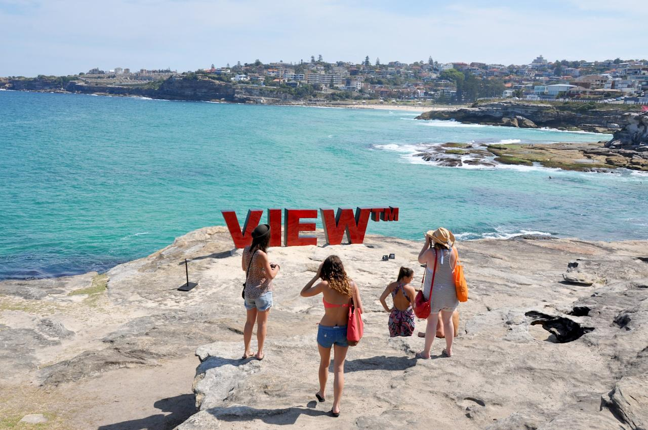 "Since 1997, visitors to and residents of Sydney have enjoyed the annual event, Sculpture by the Sea. Located on the famous Bondi beach, the event features 100 sculptures by artists from around the world. Visitors to the public event will enjoy sculptures similar to the one above: ""View TM"" is a tongue-in-cheek comment on the vista from the top of a picturesque cliff."
