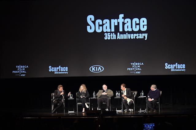 Pfeiffer, pictured with Bauer, De Palma, and Pacino, was grilled by moderator Jesse Kornbluth, far right. (Photo: Theo Wargo/Getty Images for Tribeca Film Festival)