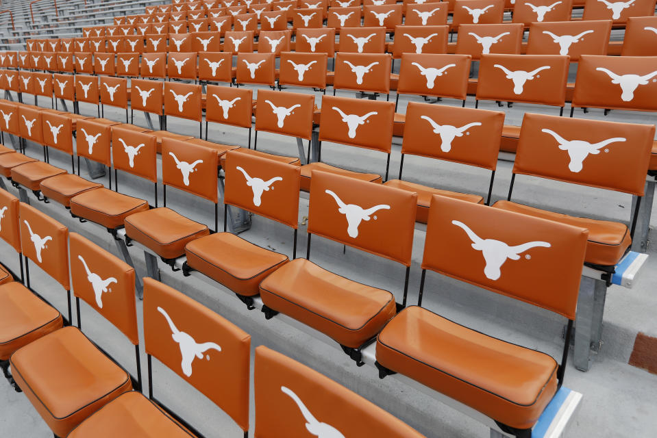 AUSTIN, TX - OCTOBER 21: A general view of Texas Longhorns seat cushions in the stands before the game against the Oklahoma State Cowboys at Darrell K Royal-Texas Memorial Stadium on October 21, 2017 in Austin, Texas. (Photo by Tim Warner/Getty Images)