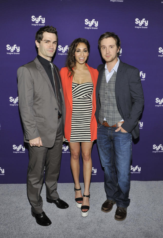 "Sam Witwer, Meaghan Rath, and Sam Huntington (""<a href=""http://tv.yahoo.com/being-human-syfy/show/45462/"">Being Human</a>"") attend Syfy's 2012 Upfront event at the American Museum of Natural History on April 24, 2012 in New York City."
